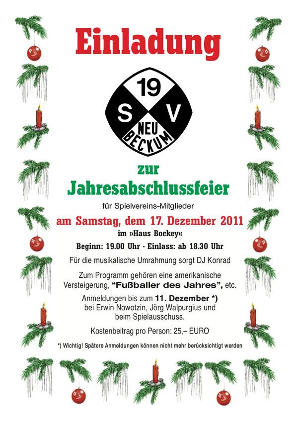 einladung zur jahresabschlussfeier 2011 – sv neubeckum 1919 e.v., Einladung