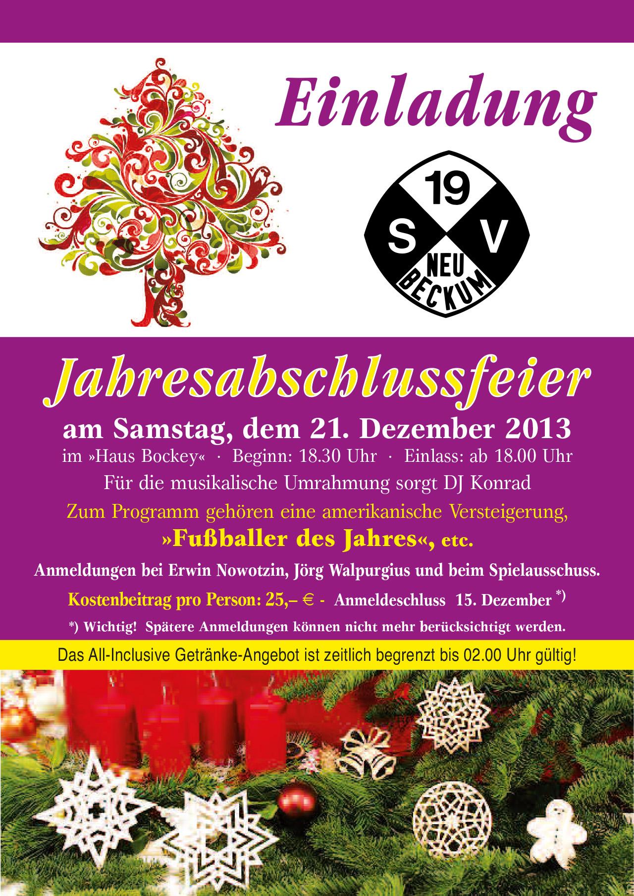 einladung zur weihnachtsfeier 2013 – sv neubeckum 1919 e.v., Einladung