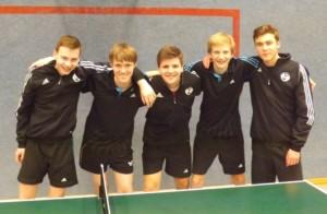Die Jugendmannschaft: von links: Dominik Weiß, Jonas Schwarz, René Erdbories, Torben Paßgang, Jannis Blauth
