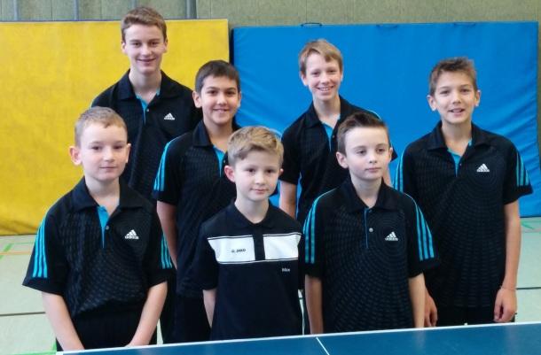 A- und B2-Schüler (von links) Tyler Berkemeier, Lukas Funke, Fabio Micke, Max Glimski, Nils Brinkmann, Florian Seitz und Luca Micke.