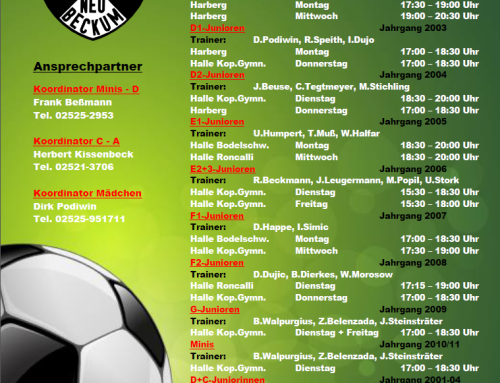 Neue Jugend-Trainingszeiten!